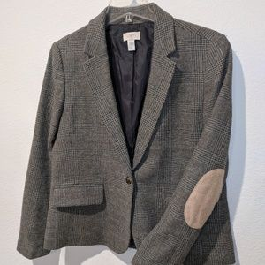 Gray Ann Taylor LOFT plaid blazer with elbow patch